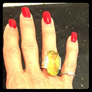 David Yurman very large Citrine Ring with topaz St